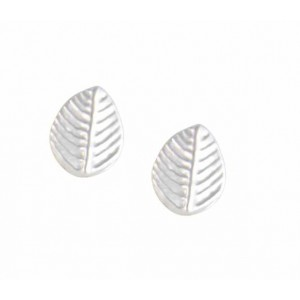 Leaf Silver Stud Earrings with Engraved Vein Design