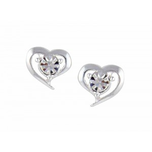 Heart and Crystal Stud Earrings