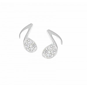 Music Note Sterling Silver Stud Earrings