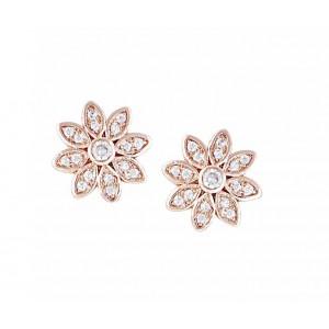 Rhodium Plated Flower Stud Earrings