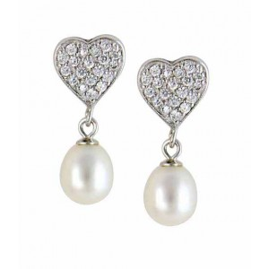 Heart and Pearl Cubic Zirconia Silver Earrings