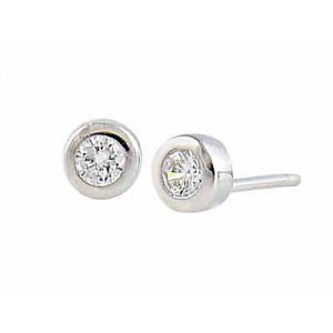 Cubic Zirconia 5mm Small Silver Stud Earrings