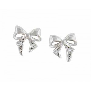Bow Sparkle SilverStud Earrings