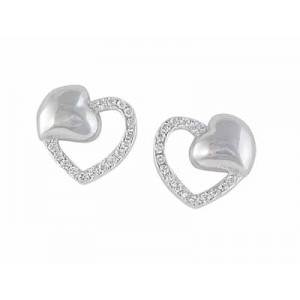 Double Heart Sterling Silver Stud
