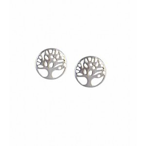 Tree of Life Circle Silver Stud Earrings