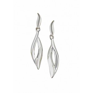 Open Leaf Silver Stud Earrings