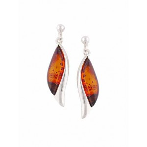 Eye Design Silver Stud Amber Earrings