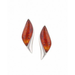 Wave Stud Amber Earrings - Silver Amber Jewellery