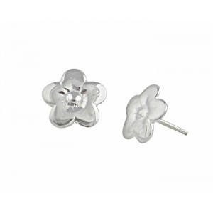 Five Petals Stud Silver Flower Earrings