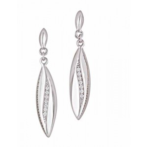Elongated Teardrop Silver Earrings