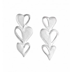 Triple Heart Silver Stud Earrings