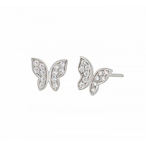 Cubic Zirconia and Butterfly Stud Earrings