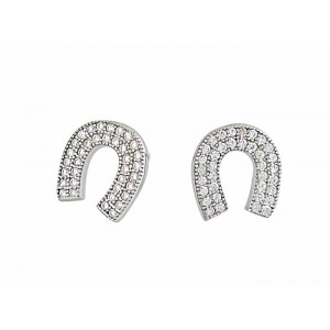 Horseshoe Silver Stud Earrings