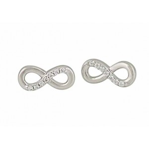 Cubic Zirconia Infinity Silver Stud Earrings
