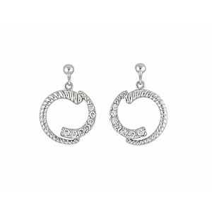 Cubic Zirconia Circle Silver Stud Earrings
