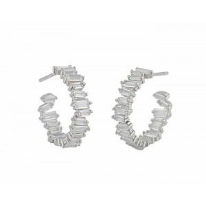 Stack Design Cubic Zirconia Silver Earrings