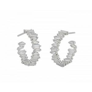 Stack Design Cubic Zirconia Silver Earrings