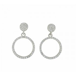 Open Circle Cubic Zirconia Silver Earrings