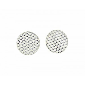 Textured Circle Silver Small Stud Earrings