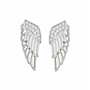 Angel Wing Silver Stud Earrings