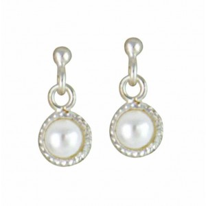 Small Pearl Silver Stud Earrings