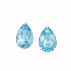 Teardrop Aquamarine Swarovski Crystal Stud Earrings