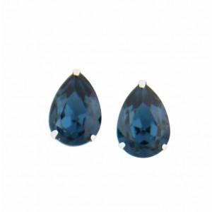 Teardrop Montana Swarovski Crystal Stud Earrings