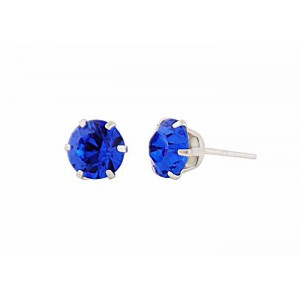 Round Capri Blue Swarovski Crystal Silver Stud Earrings