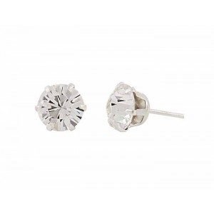 Round Swarovski Crystal Silver Stud Earrings