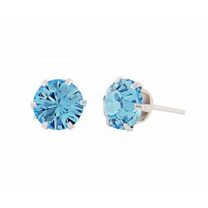 Round Aquamarine Swarovski Crystal Silver Stud Earrings