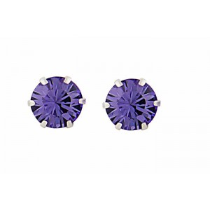 Round Tanzanite Swarovski Crystal Silver Stud Earrings