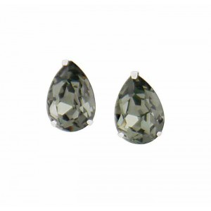 Teardrop Black Diamond Swarovski Crystal Small Stud Earrings