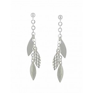 Textured and Plain Multi Leaf Silver Earrings
