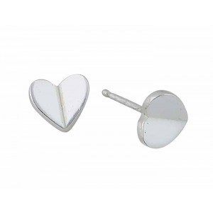 Silver Heart Stud Earrings 8mm