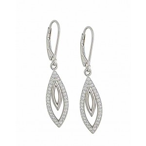 Open Marquise and Cubic Zirconia Silver Hoop Earrings