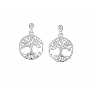 Tree of Life Disc Small Drop Earrings