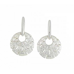 Three Tier Textured Disc Silver Stud Earrings