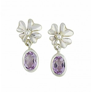 Four Petal Flower and Amethyst Silver Earrings
