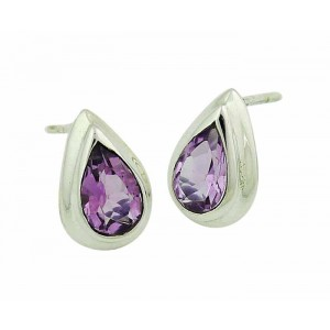 Amethyst Small Silver Stud Earrings