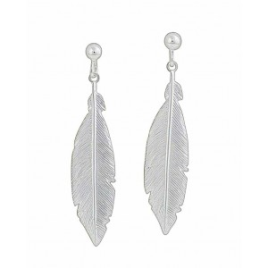 Silver Feather Long Drop Earrings