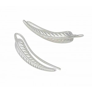 Silver Leaf Design Ear Climbers