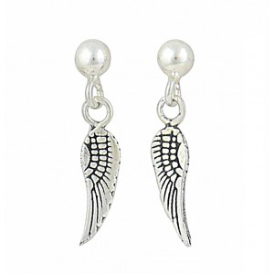 Angel Wing Silver Small Drop Earrings