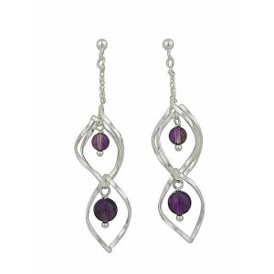 Amethyst Ball Silver Drop Earrings