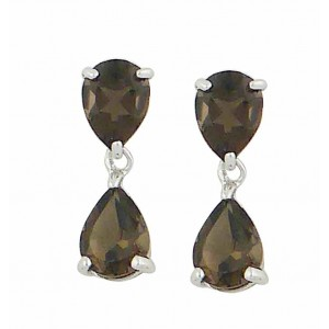 Smoky Quartz Teardrop Silver Earrings