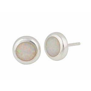 Small Circular White Opal Silver Stud Earrings