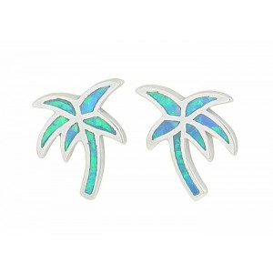 Palm Tree Blue Opal Silver Stud Earrings