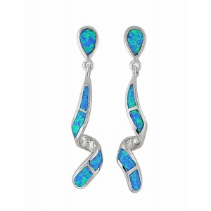 Blue Opal Twisted Bar Silver Drop Earrings