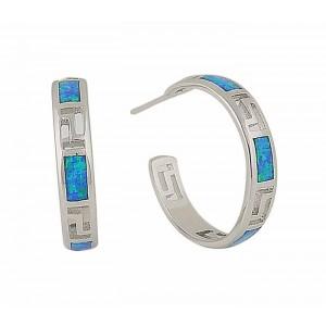 Blue Opal Circle Silver Stud Earrings | The Opal