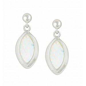 Marquise White Opal Silver Stud Earrings   The Opal