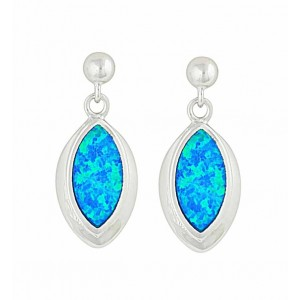Marquise Blue Opal Silver Stud Earrings | The Opal
